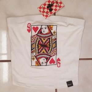 8fecb37a9b1 Dolls Kill Tops - NWT O Mighty Queen of Hearts Tube Top